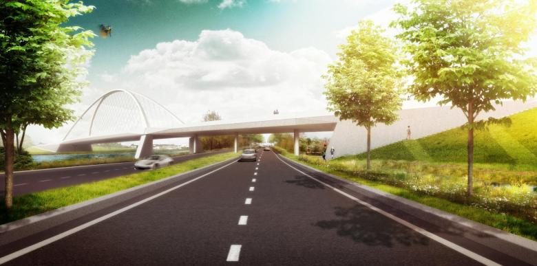 Impressiefoto nieuwe brug