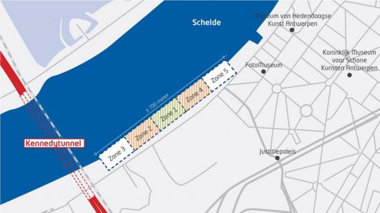 Kaart project Scheldekaaien Nieuw-Zuid zones