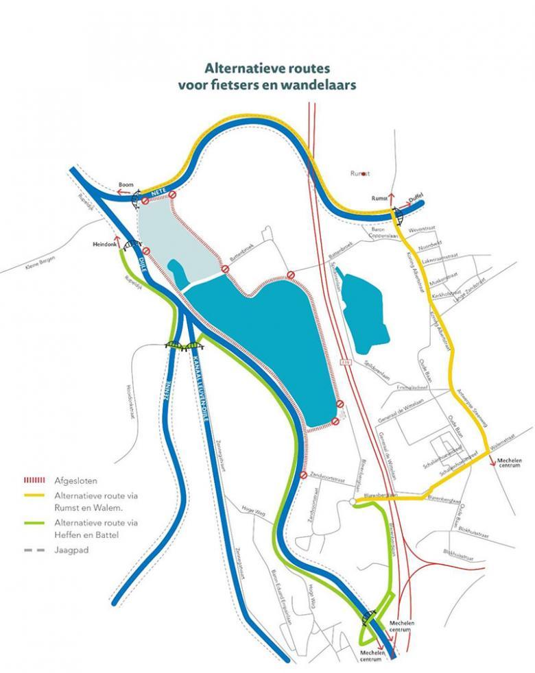 Kaart alternatieve route voor fietsers en wandelaars