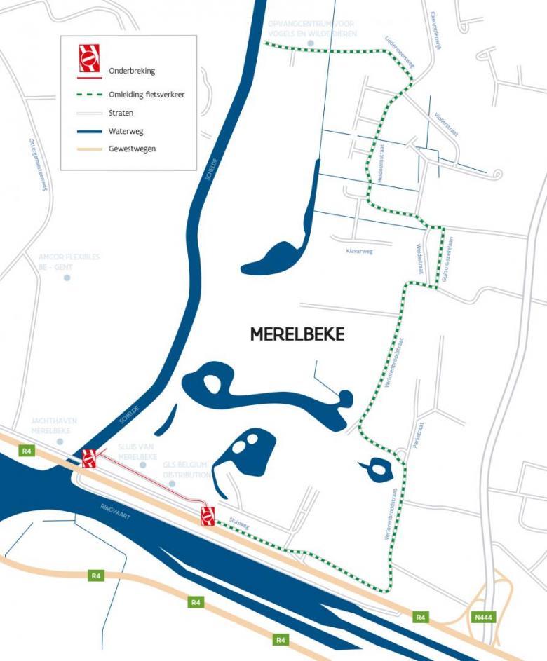 Omleidingsplan werken Sluisweg Merelbeke