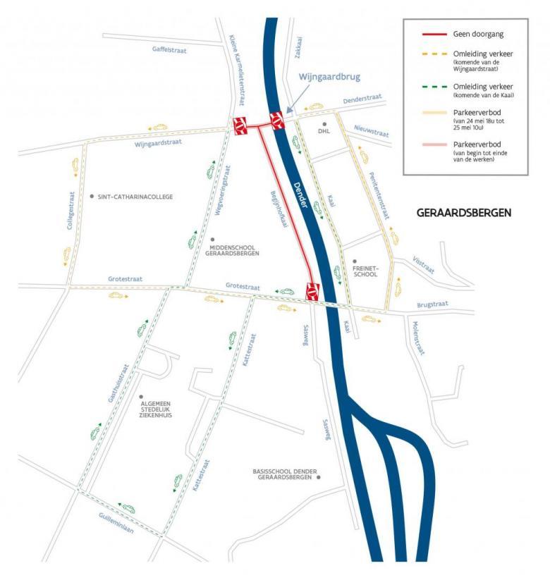 Omleidingsplan Geraardsbergen werken Wijngaardbrug