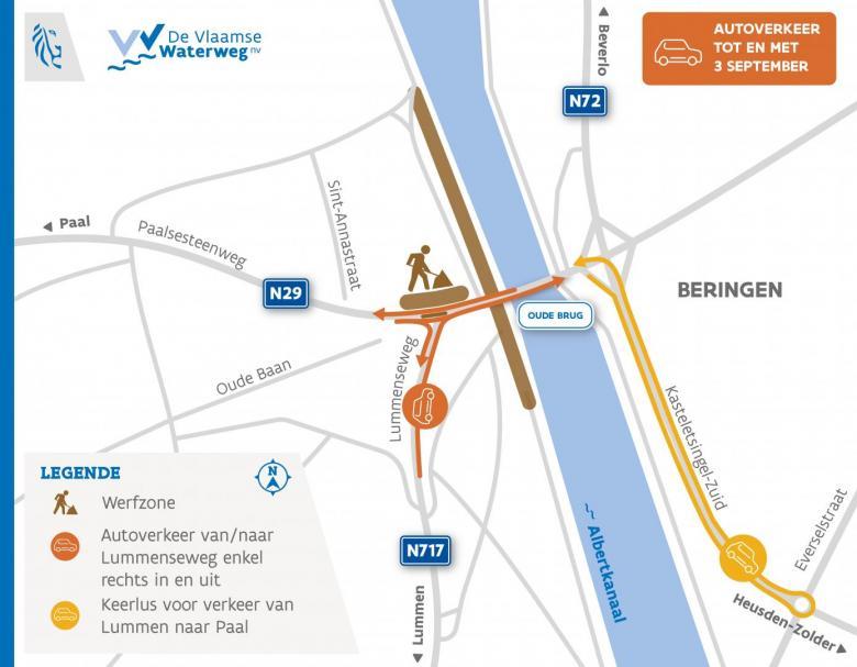 routeplan autoverkeer tot en met 3 september