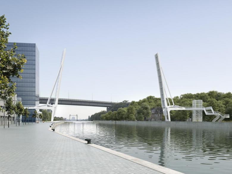 Visualisatie nieuwe fietsersbrug Vilvoorde