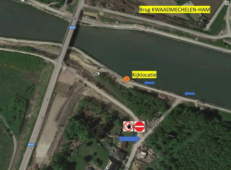 Plan met kijklocatie tijdens invaren brug