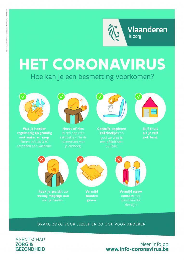 Affiche voorzorgsmaatregelen Coronavirus