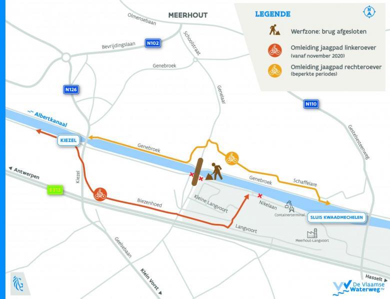 Omleiding jaagpaden brug Meerhout
