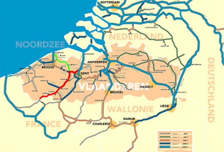 Tracé van Seine Schelde (rood) en Seine Schelde West (groen)