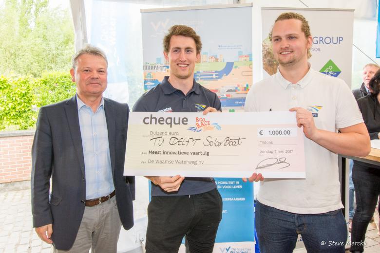 Team dat de prijs won voor het meest innovatieve vaartuig