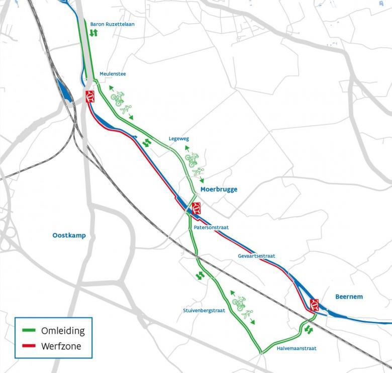 Omleidingsplan jaagpadwerken Kanaal Gent-Oostende