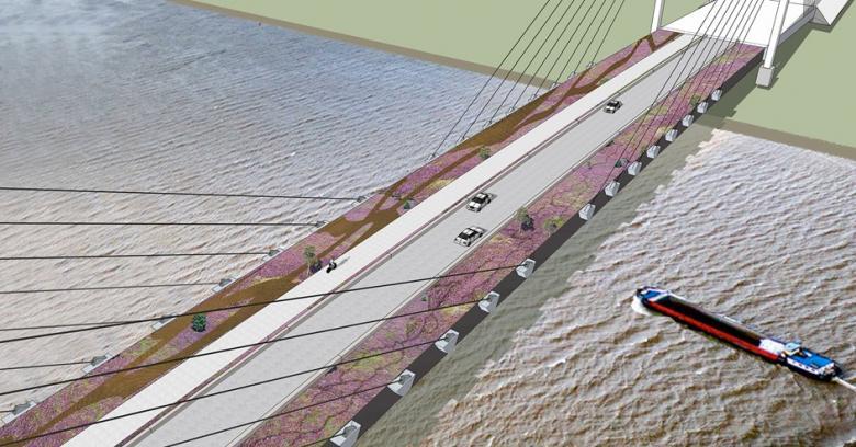 Schets nieuwe brug