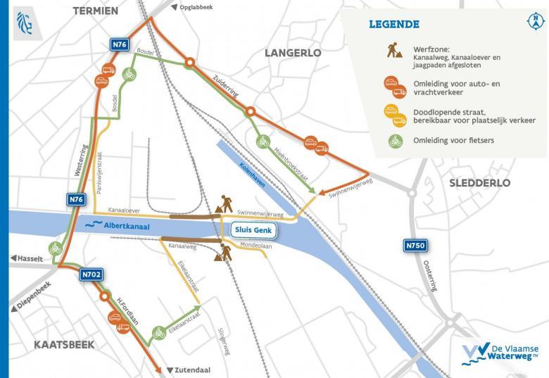 omleidingsplan werken spoorbrug Genk