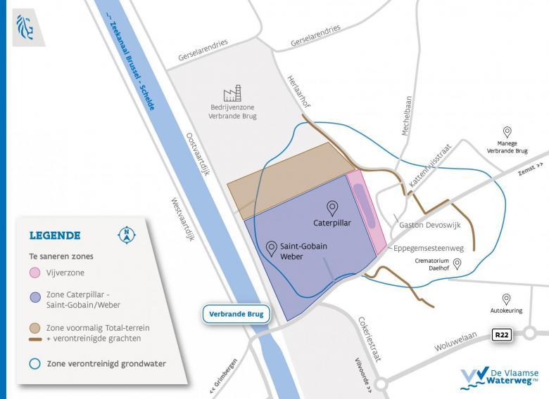 Kaart vervuilde zones Cokeries du Brabant